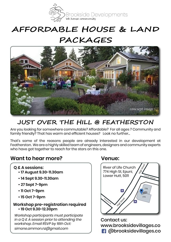 Brookside Featherston information sessions affordable housing eco village